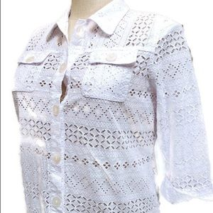 Women's Embroidered Floral White Shirt